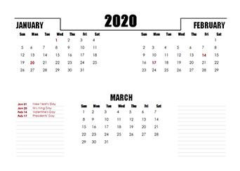 2020 Three Months Calendar
