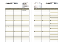 2020 Two Page Monthly Calendar