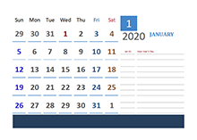 2020 UAE Calendar for Vacation Tracking