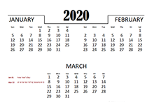 2020 Quarterly Calendar for UAE