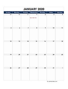 2020 UAE Monthly Excel Calendar
