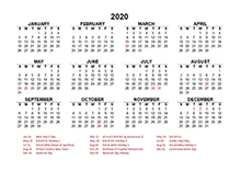 2020 UAE calendar template with public holidays