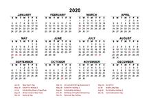 2020 UAE Yearly Calendar Template Excel