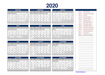 Yearly 2020 Calendar with UAE public holidays