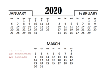 2020 Quarterly Calendar for UK