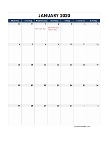 UK calendar 2020 Public holidays