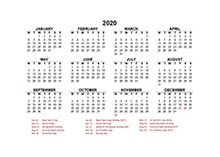 2020 UK calendar template with public holidays