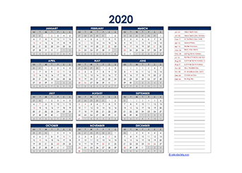 Yearly 2020 Calendar with UK public holidays