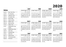 2020 Year Calendar Template with US Holidays