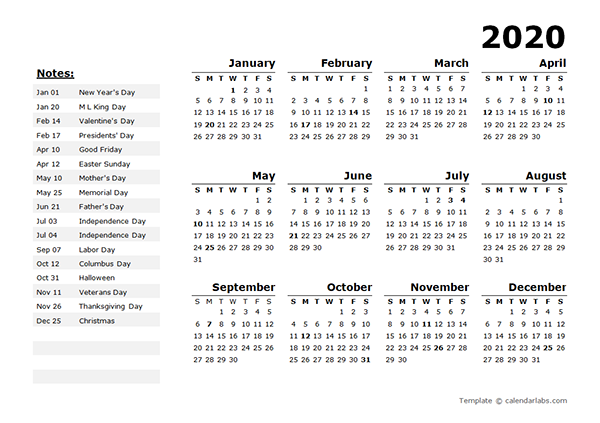 printable yearly calendar with US holidays