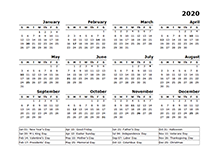 2020 yearly calendar template with US holidays