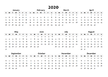 2020 Yearly Blank Calendar Template