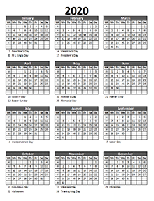 2020 business calendar with week number