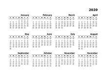 2020 yearly calendar for Mac Pages