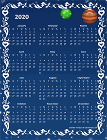 2020 yearly calendar design template