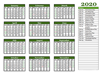 2020 yearly calendar printable