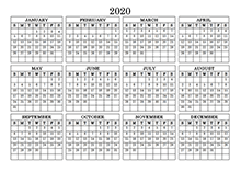 2020 yearly calendar landscape 09