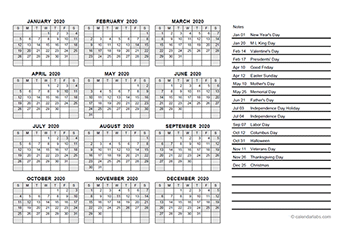 2020 yearly calendar pdf
