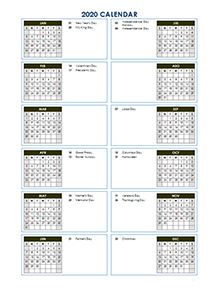 2020 Yearly Calendar Template Vertical Design