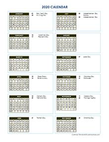 2020 full year vertical calendar template