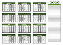 2020 Yearly Calendar With Blank Notes