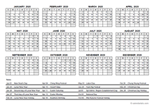 2020 Yearly Calendar With Hong Kong Holidays