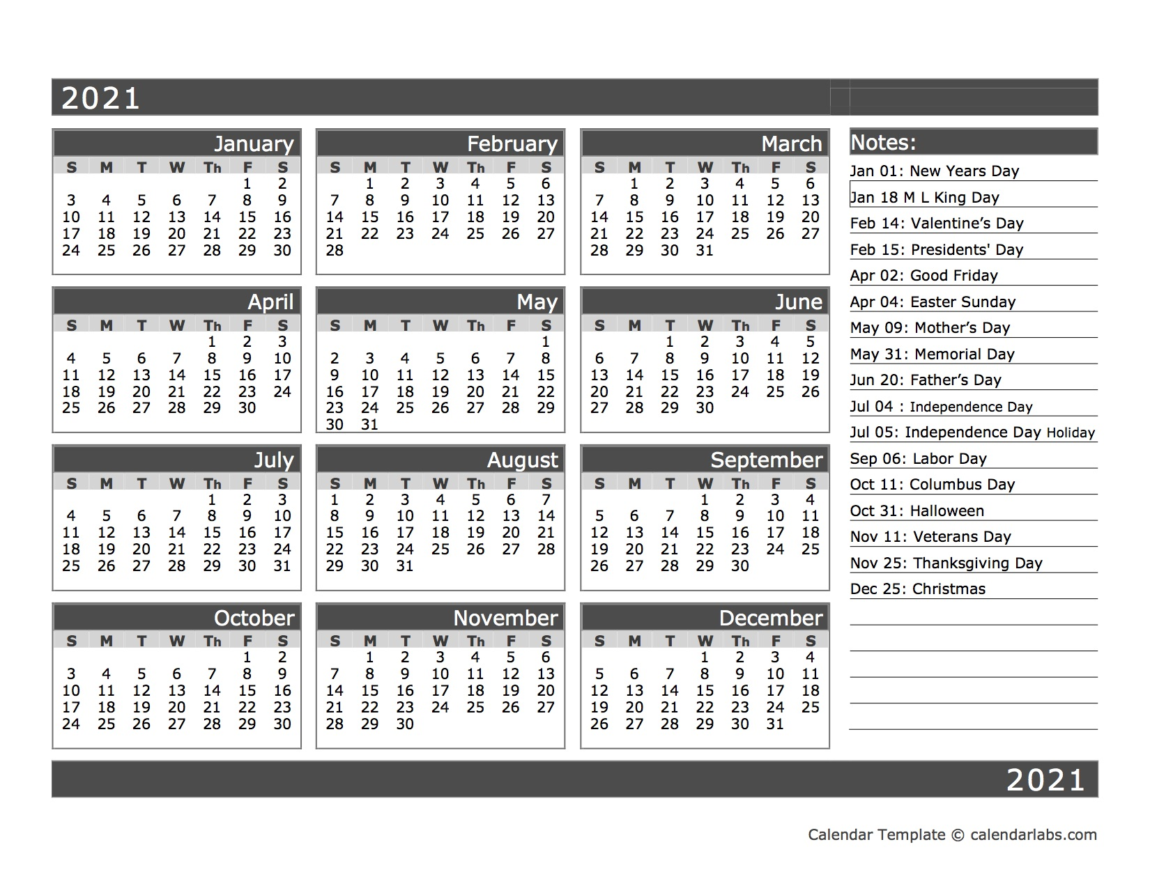 12-Month One Page Calendar Template for 2021 - Free ...