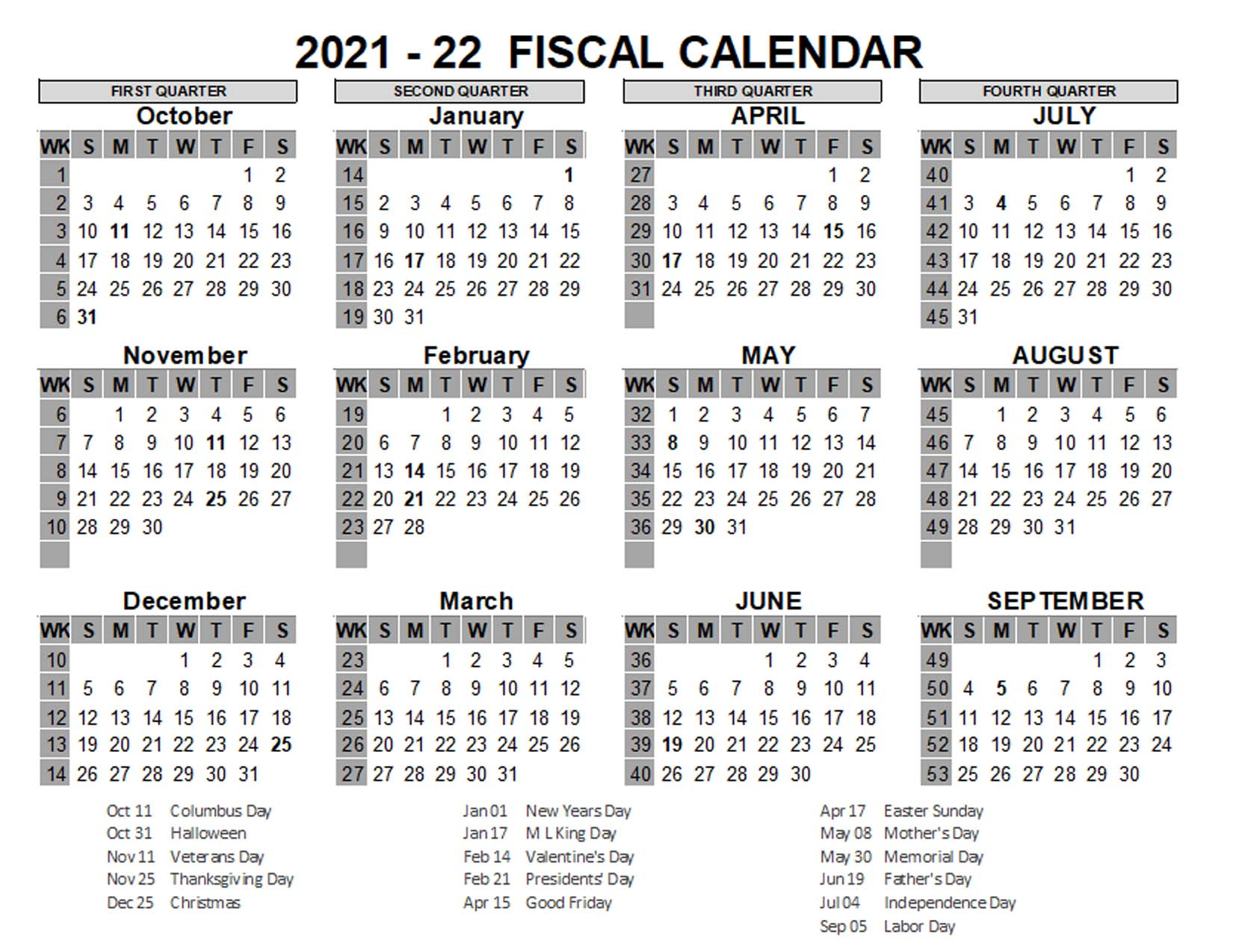 2021 US Fiscal Year Template - Free Printable Templates