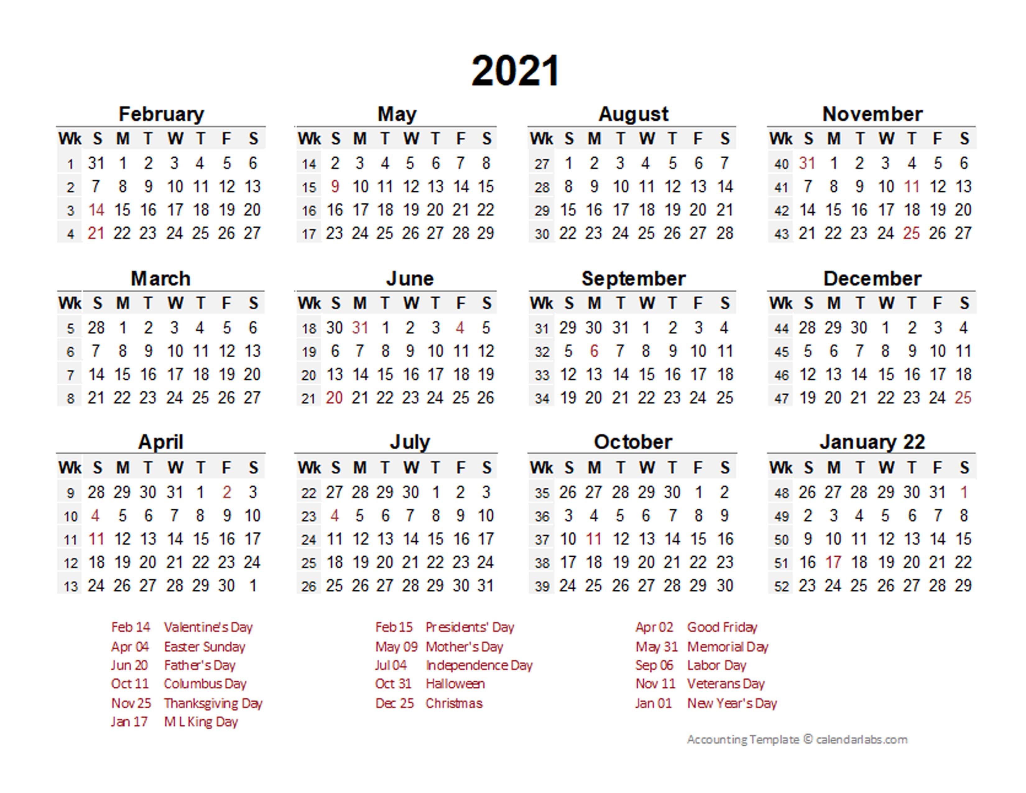 2021 Accounting Period Calendar 4-4-5 - Free Printable ...