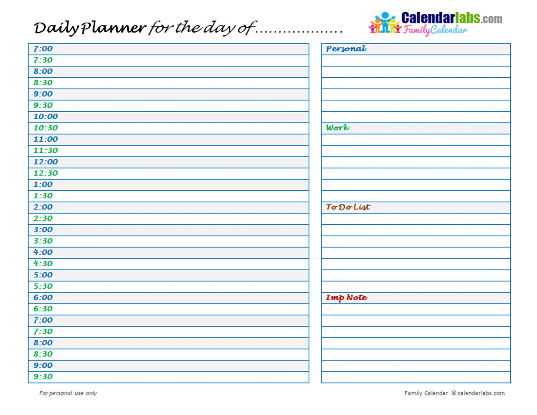 2021 Family Daily Planner - Free Printable Templates