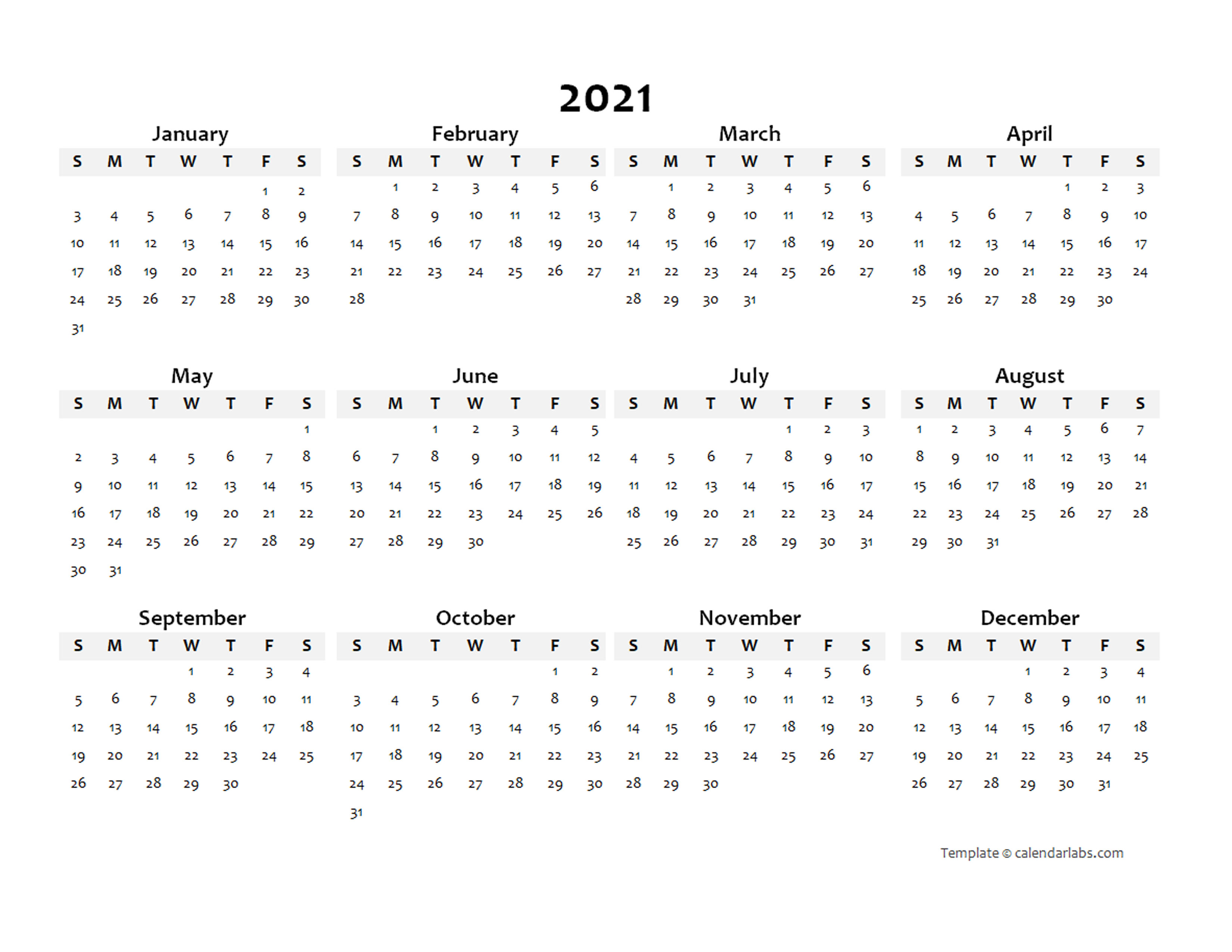 2021 Annual Blank Word Calendar Template - Free Printable ...