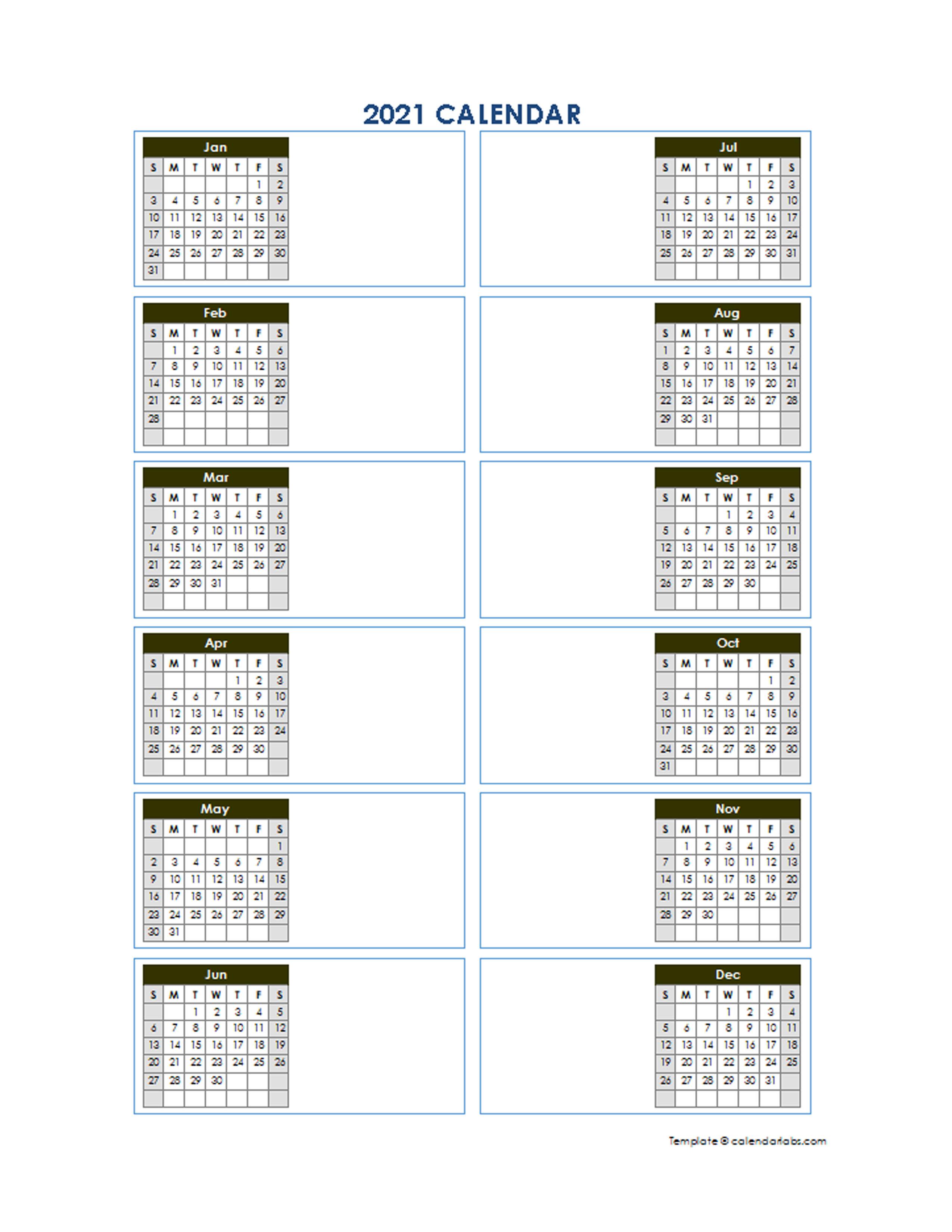 2021 Blank Yearly Calendar Template Vertical Design - Free ...