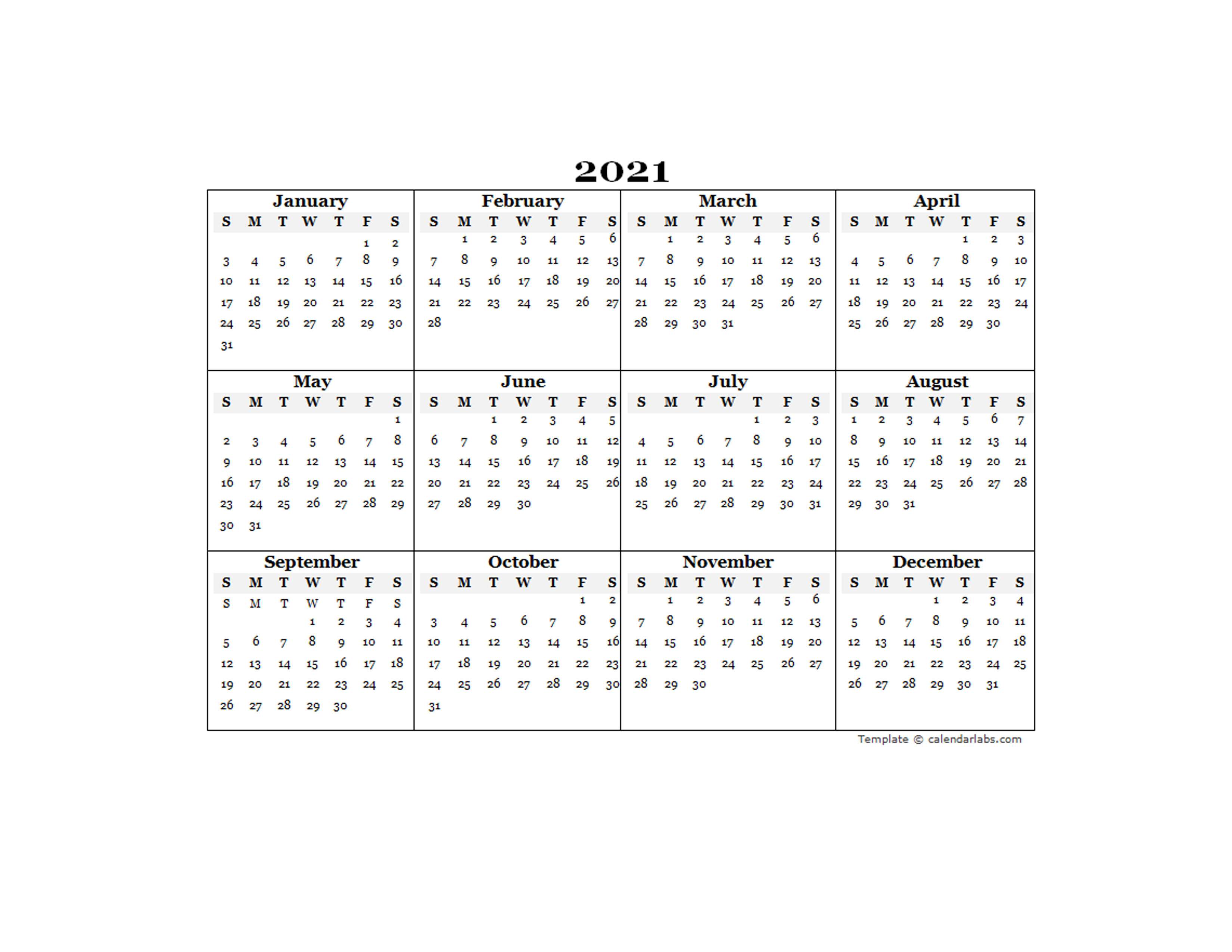 2021 Blank Yearly Calendar Template - Free Printable Templates