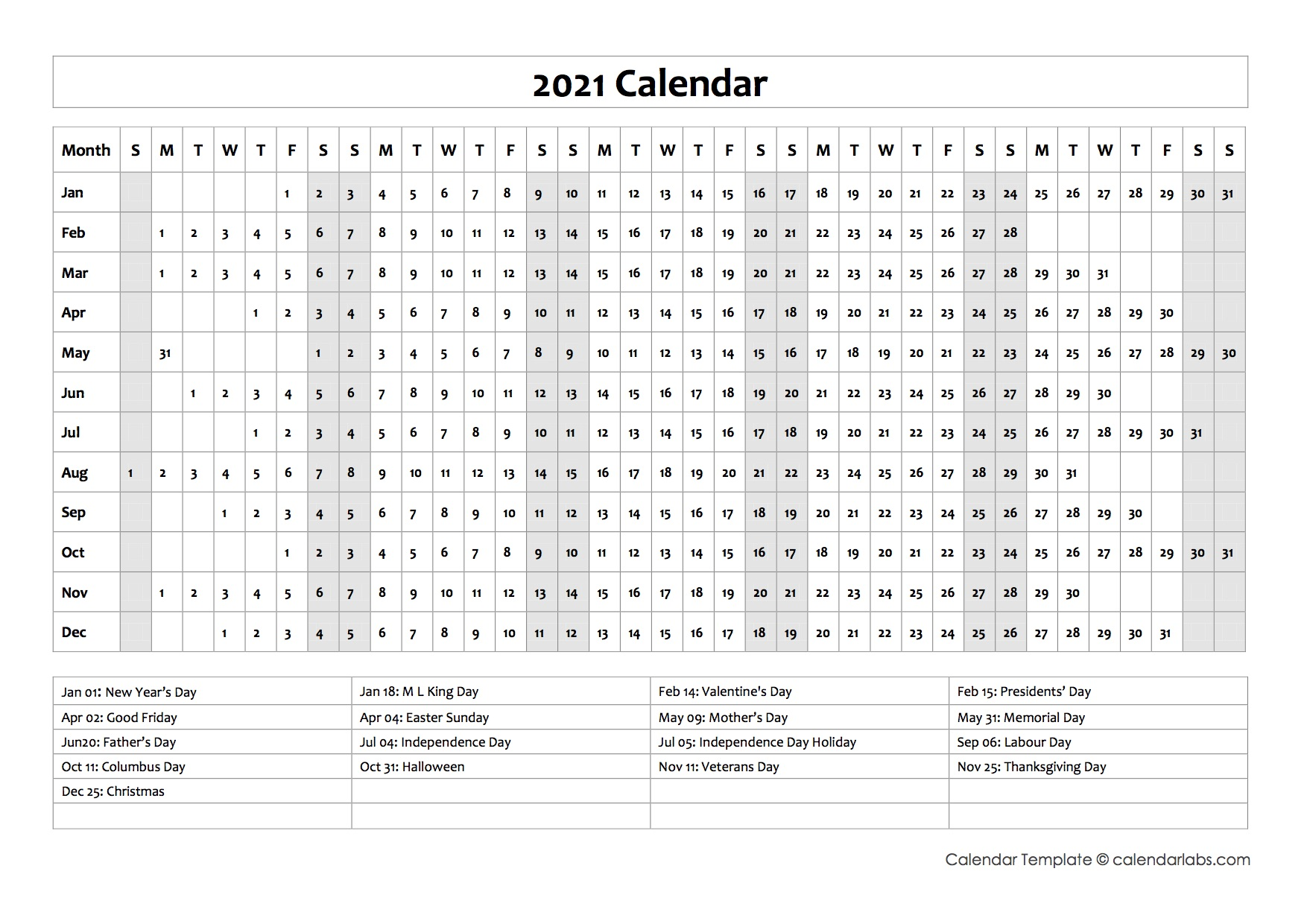 2021 Calendar Template Year at a Glance - Free Printable ...