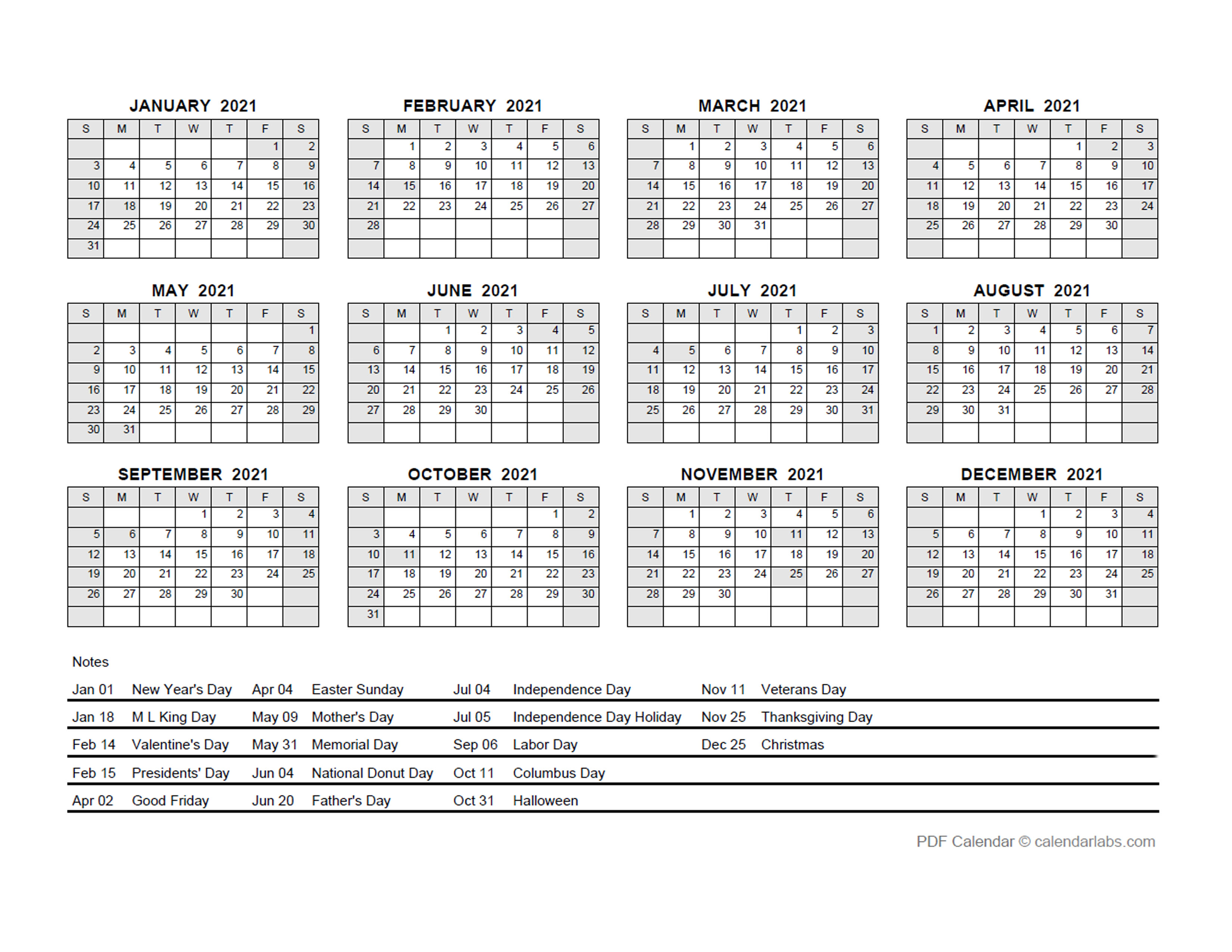 2021 PDF Yearly Calendar With Holidays - Free Printable ...