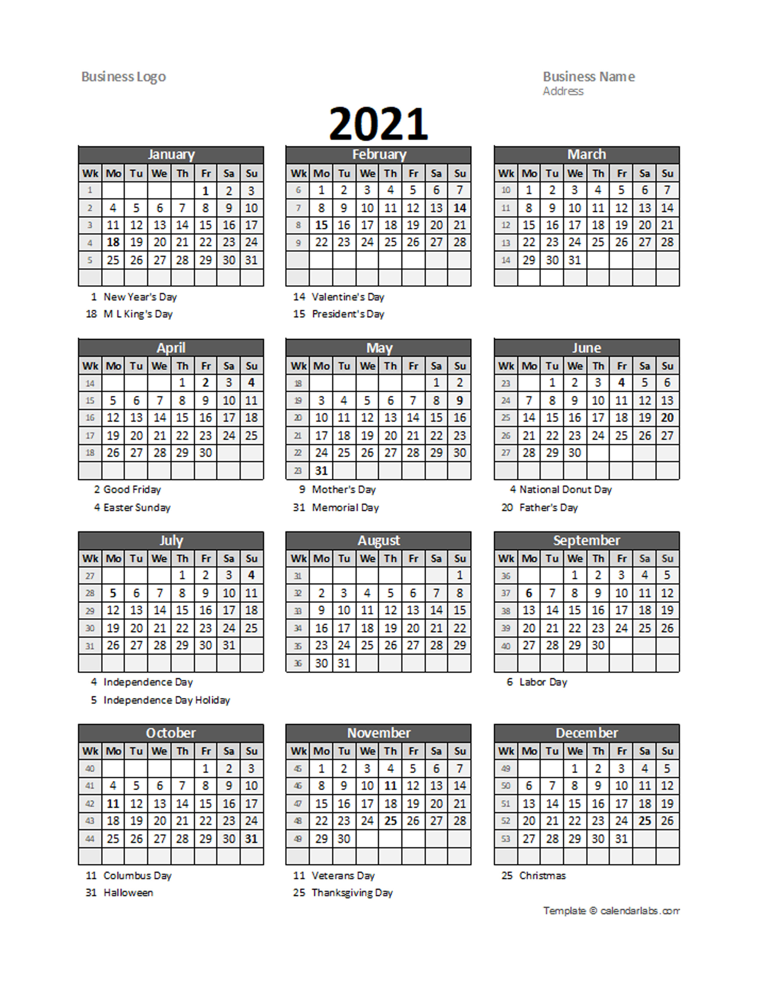 2021 Yearly Business Calendar with Week Number - Free ...