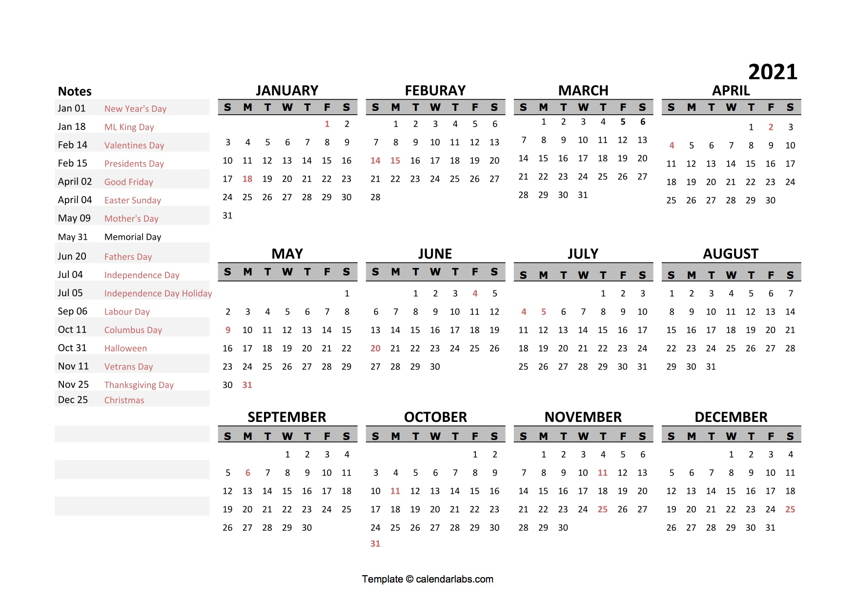 2021 Yearly Google Docs Calendar Template - Free Printable ...