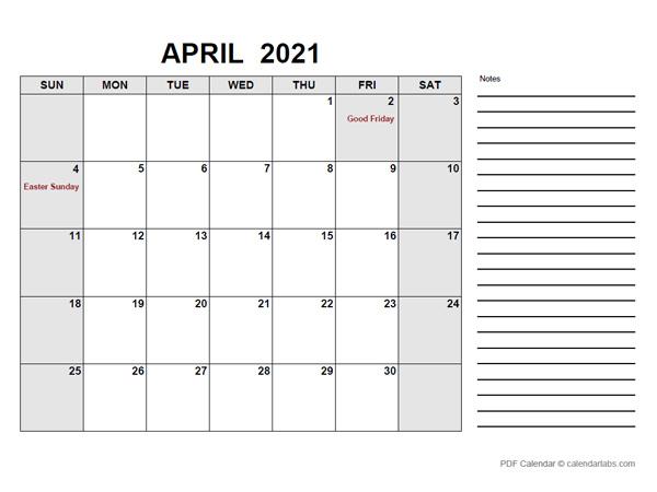April 2021 Calendar   CalendarLabs
