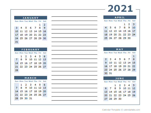 Blank Two Page Calendar Template for 2021
