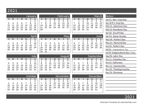 12-Month One Page Calendar Template for 2021