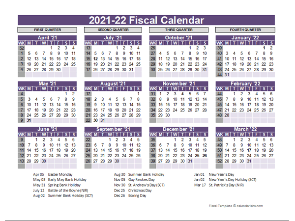 UK Fiscal Calendar Template 2021-22