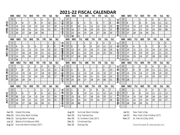 2021 Fiscal Calendar Template Starts at April