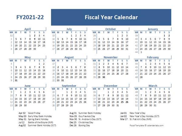 2021 Fiscal Year Calendar Template UK