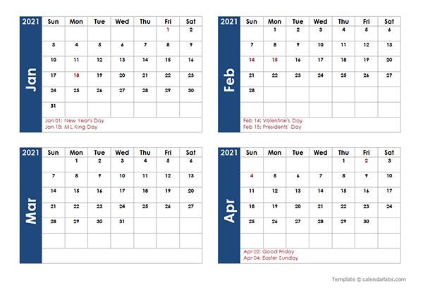 2021 Four Month Calendar Template