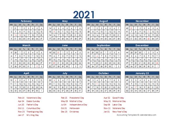 2021 Accounting Calendar 4-5-4