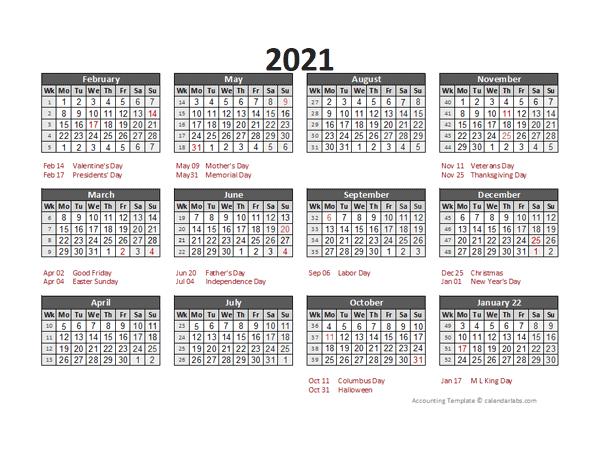 2021 Accounting Calendar 5-4-4