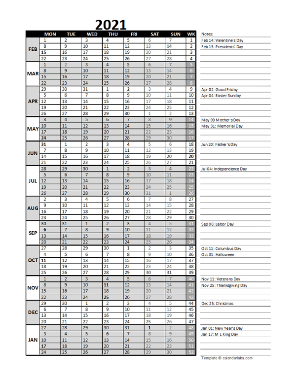 2021 Accounting Month End Close Calendar