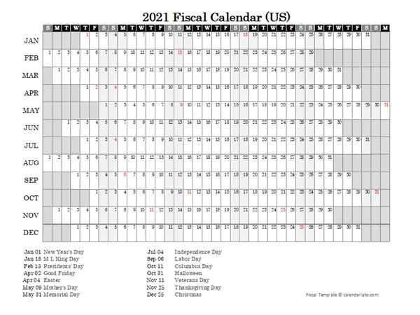 2021 Fiscal Calendar USA