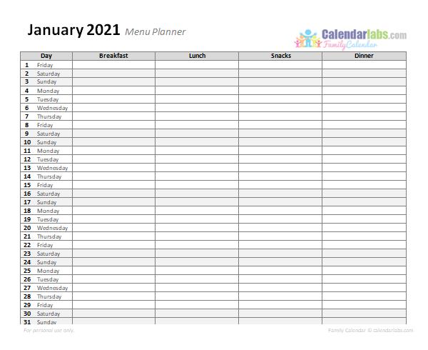 2021 Monthly Menu Planner