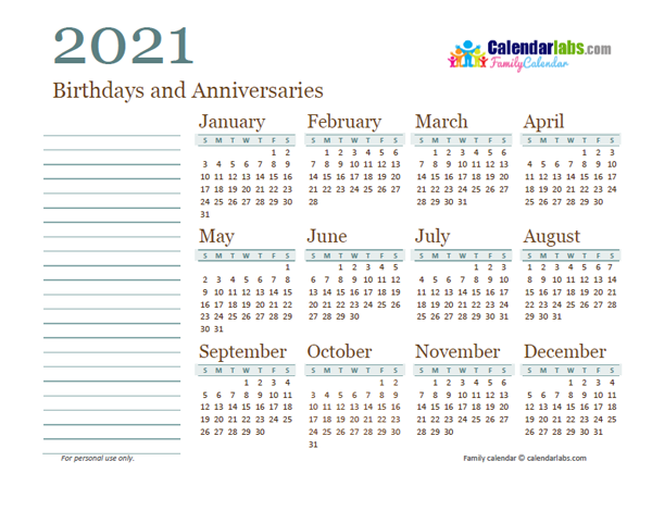 2021 Yearly Family Calendar